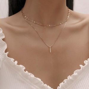 Gold Layered Vertical Bar Necklace